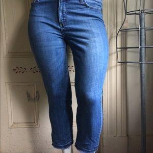 Talbots Flawless Five Pocket frayed hem crop jeans